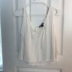 White Lace Up Tank Top